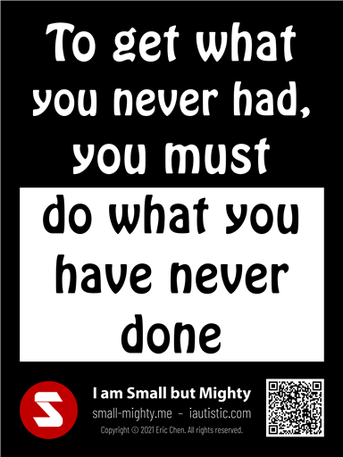 To get what you never had you must do what you have never done