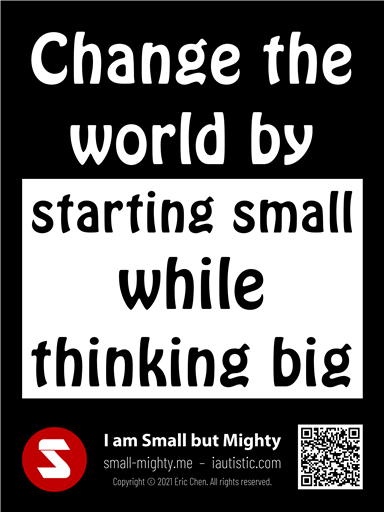 Change the world by starting small while thinking big