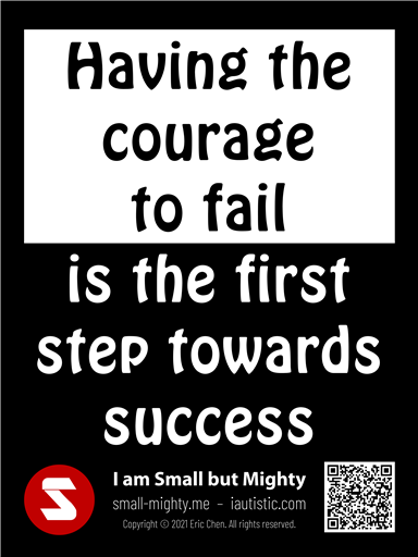 Having the courage to fail is the first step towards success