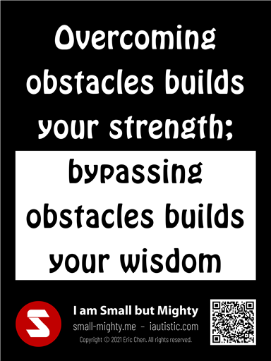 Bypassing obstacles builds your wisdom