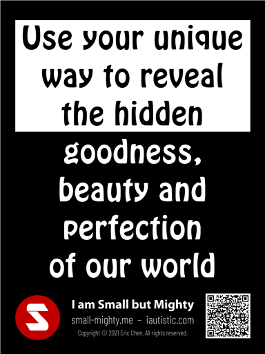 Use your unique way to reveal the hidden goodness, beauty and perfection of our world