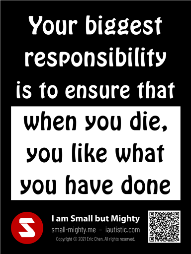 Your biggest responsibility is to ensure that when you die, you like what you have done